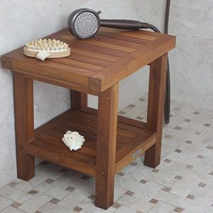 Teak shower bench