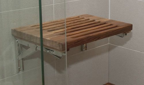 Teak fold down shower seat