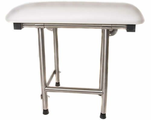 Wall mounted folding shower seat with legs