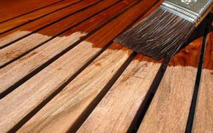 Teak oil applied to wood